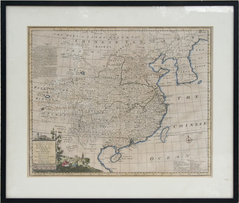 Lot 107 - An antique hand coloured map by Emanuel Bowen, illustrating 'A New & Accurate Map of China Drawn
