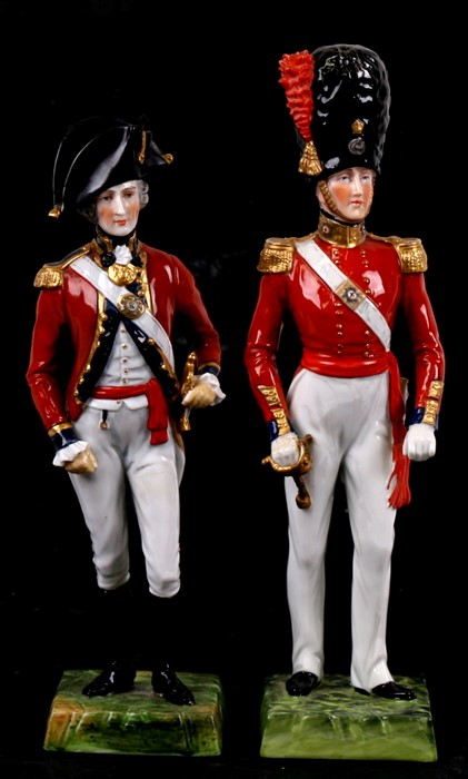 Lot 44 - A pair of Dresden porcelain military figures, Officer 3rd Guard, 1794 and Coldstream Guard, the