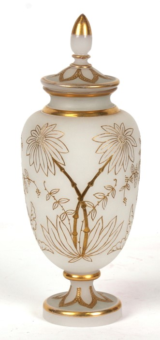 Lot 15 - A Bohemian frosted glass vase and cover with gilt overlaid decoration, 31cms (12.25ins) high.