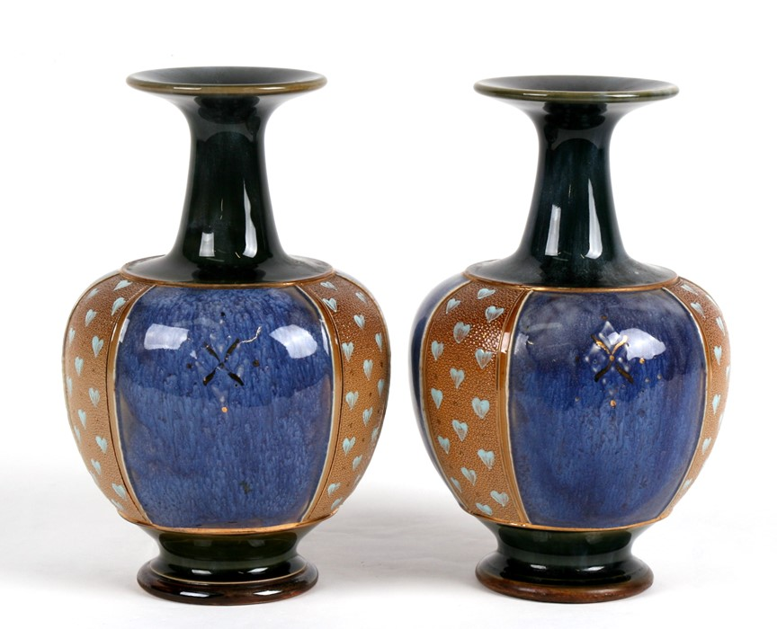 Lot 34 - A pair of Royal Doulton Stoneware vases, 22cms (8.5ins) high.