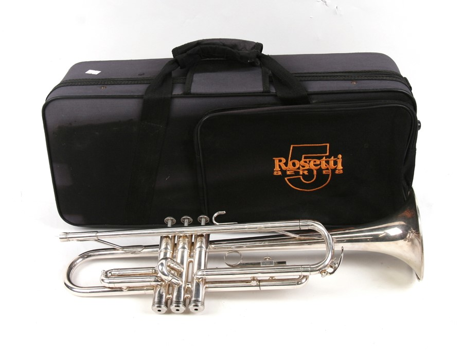 Lot 117 - A Yamaha silver plated trumpet, numbered '1320S', cased.