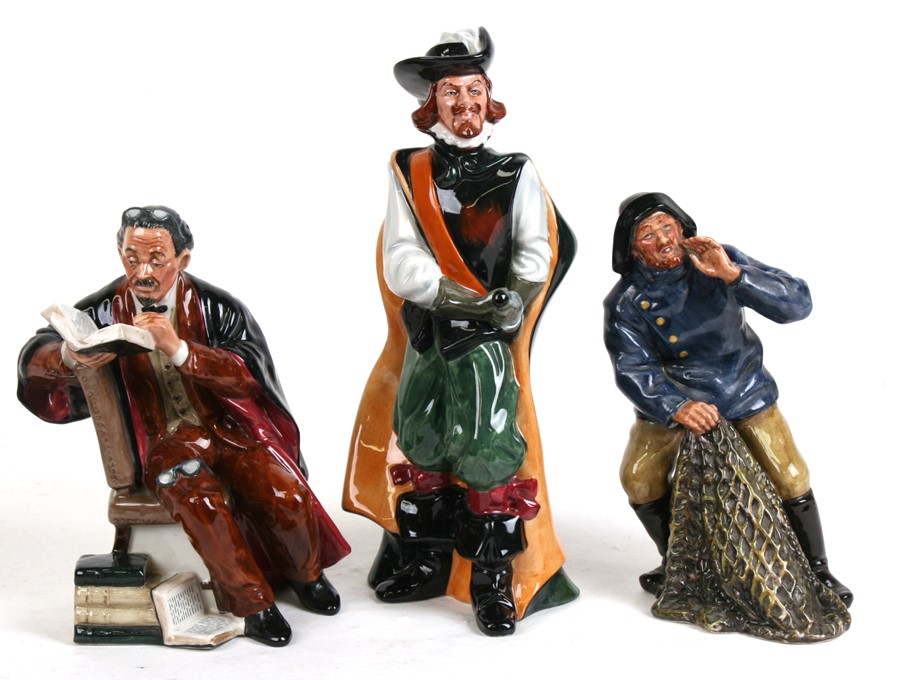 Lot 63 - Three Royal Doulton figures - Sea Harvest, HN2257, - Cavalier, HN2716, and - The Professor,