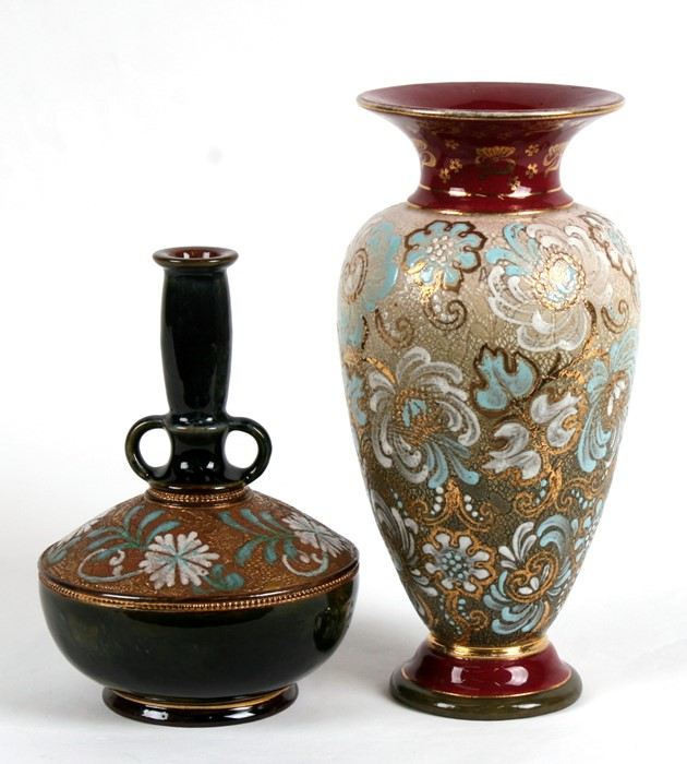 Lot 27 - Two Victorian Doulton Stoneware vases, 25cms (9.75ins) high.