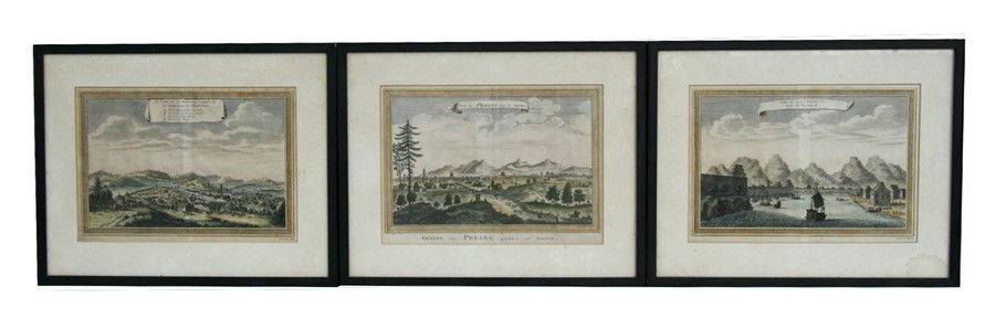 Lot 106 - Two 18th century hand coloured copper engravings after Johannes Nieuhof (1618-1672) entitled - Vue