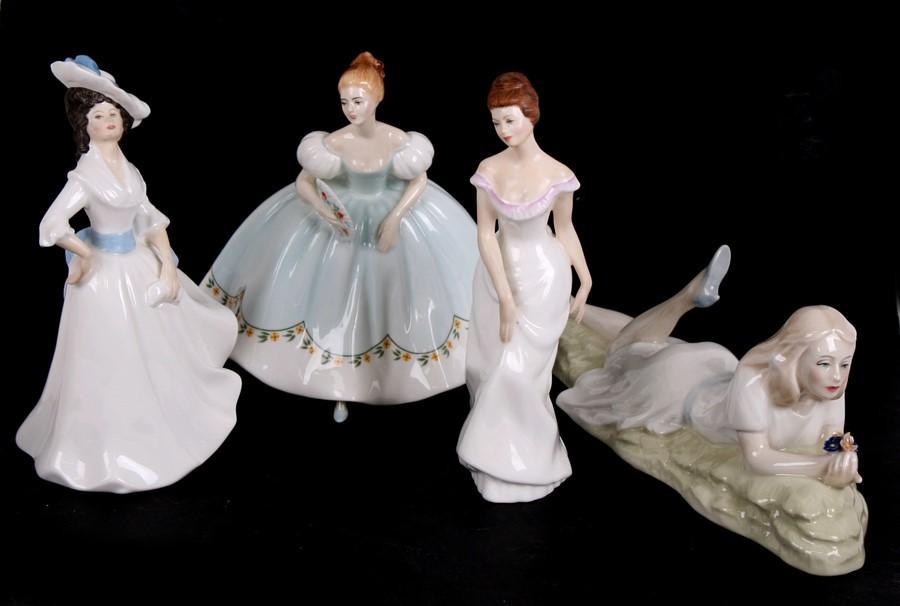 Lot 65 - Four Royal Doulton figures - Linda, HN2758; Margaret HN2397; First Dance HN2803 and Idle Hours,