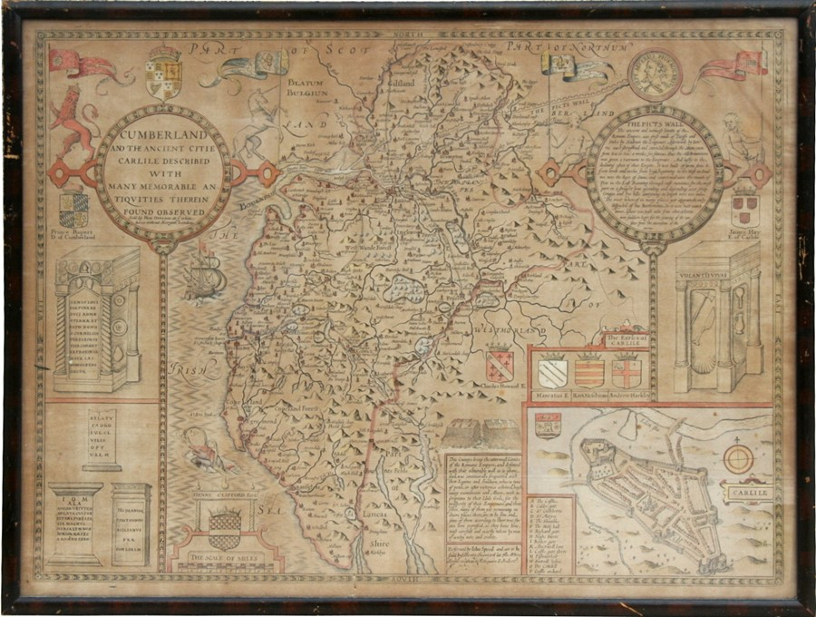 Lot 108 - An antique hand coloured map after John Speed (1551/2-1629) - Cumberland and the Ancient Citie