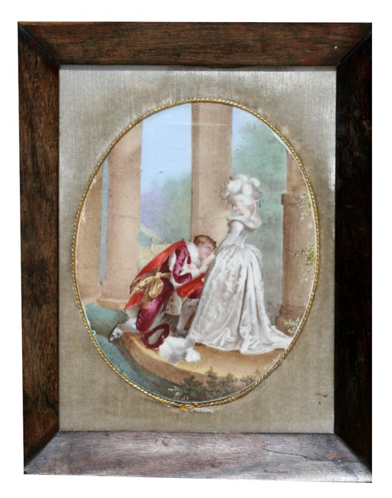 Lot 46 - A 19th century French hand painted oval porcelain panel depicting a romantic couple, framed &