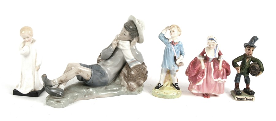 Lot 53 - Three Royal Doulton figures - Little Boy Blue, Goody Two Shoes and Darling; together with a Will
