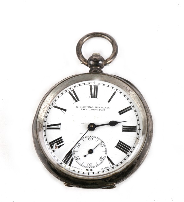 Lot 119 - A silver cased open faced pocket watch, the white enamel dial with Roman numerals and subsidiary