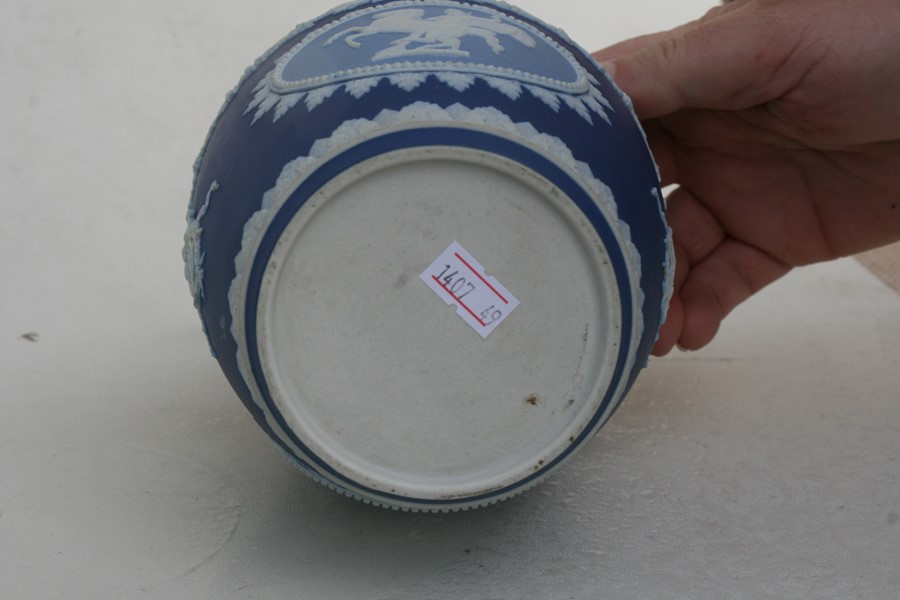 Lot 41 - A late 19th century Wedgwood three colour Jasperware biscuit barrel with silver plated mounts, 17cms