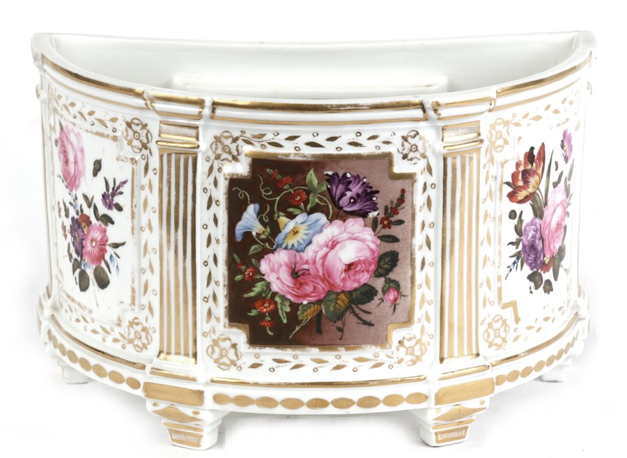 Lot 73 - A 19th century bow pot decorated with flowers within panels, 21cms (8.25ins) wide.Condition