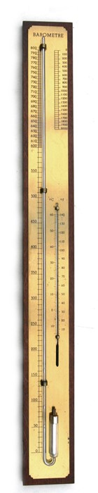 Lot 118 - A wall mounted barometer thermometer, 92cms (36ins) high.