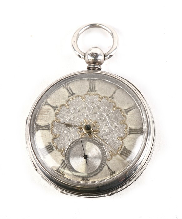 Lot 120 - A Victorian silver cased open faced pocket watch, the silvered dial engraved with flowers, with