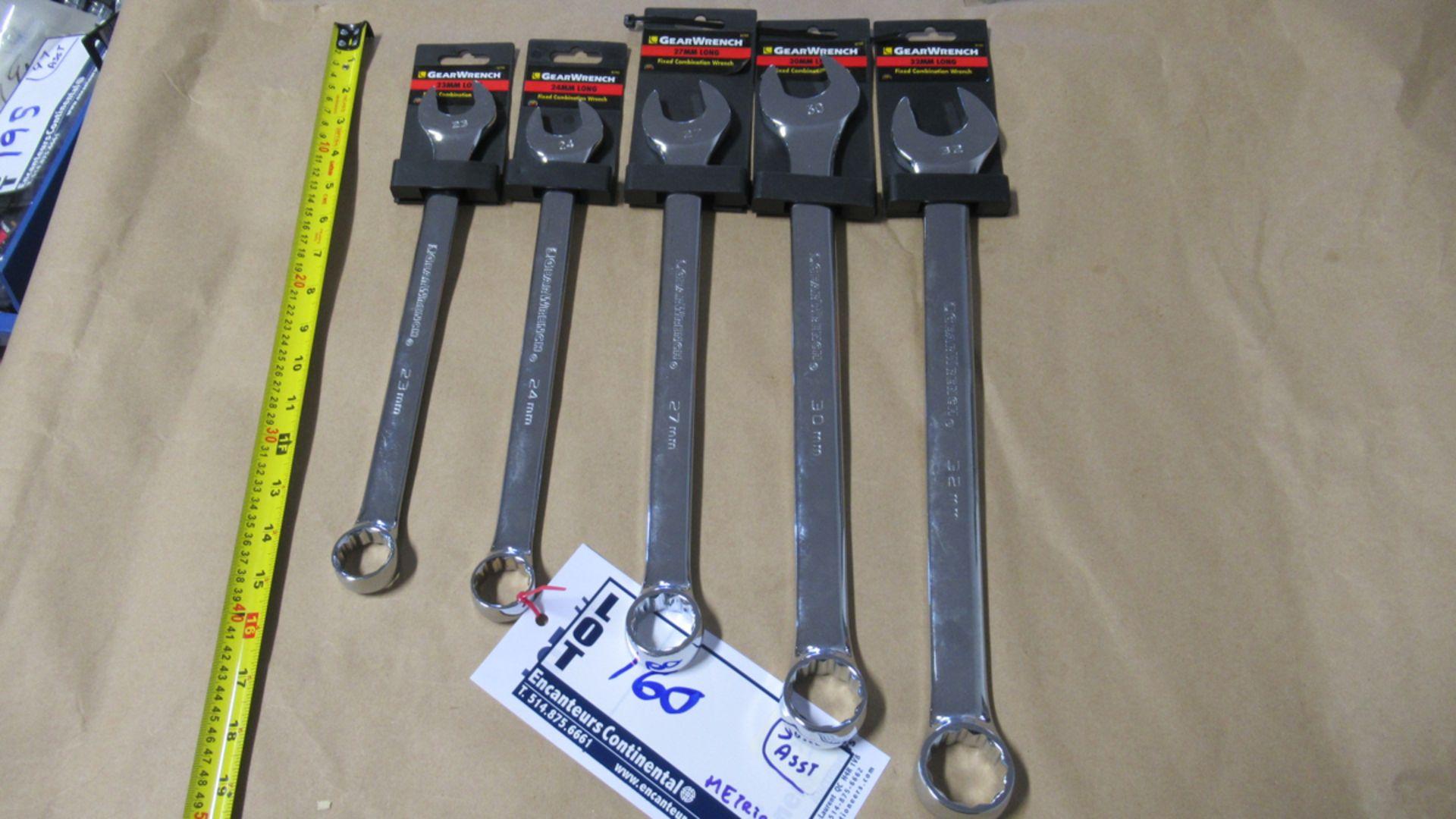Lot 160 - ENS DE 5 CLES METRIC 23,24,27,30&32mm LONG FIXED COMBINATION WRENCH GW