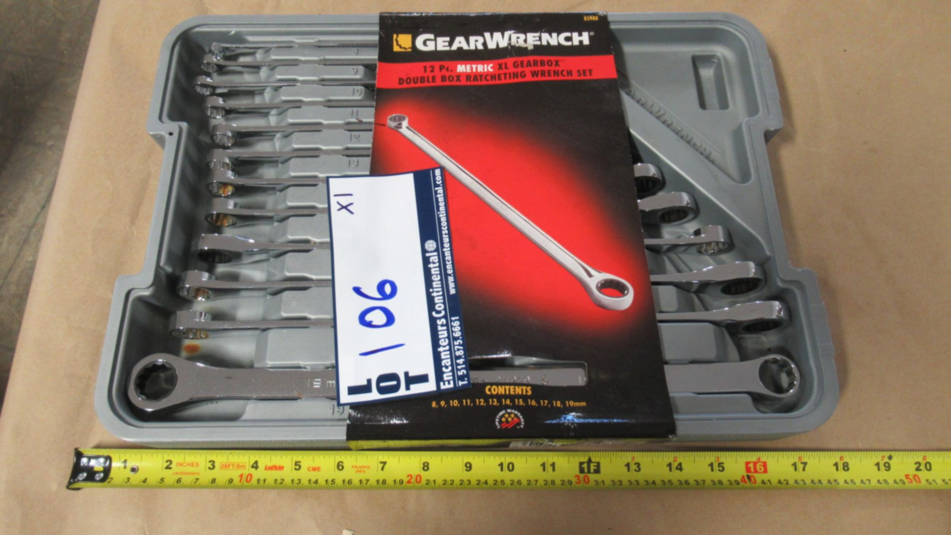 Lot 106 - 12 PC METRIC 8-19mm XL GEARBOX DBL BOX RATCHETING WRENCH GW 85988
