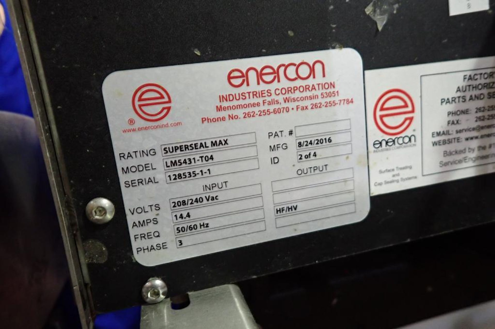 Lot 126 - Enerconsuper seal max induction cap sealer - (Located in Newport, TN)