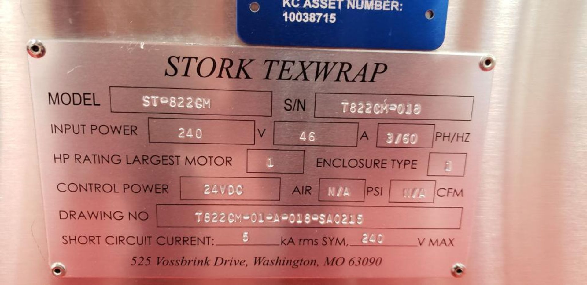 Lot 35A - Stork Texwrap radiant convection heat shrink tunnel, Model ST-822CM, SN T822CM-018, tunnel 60 in.