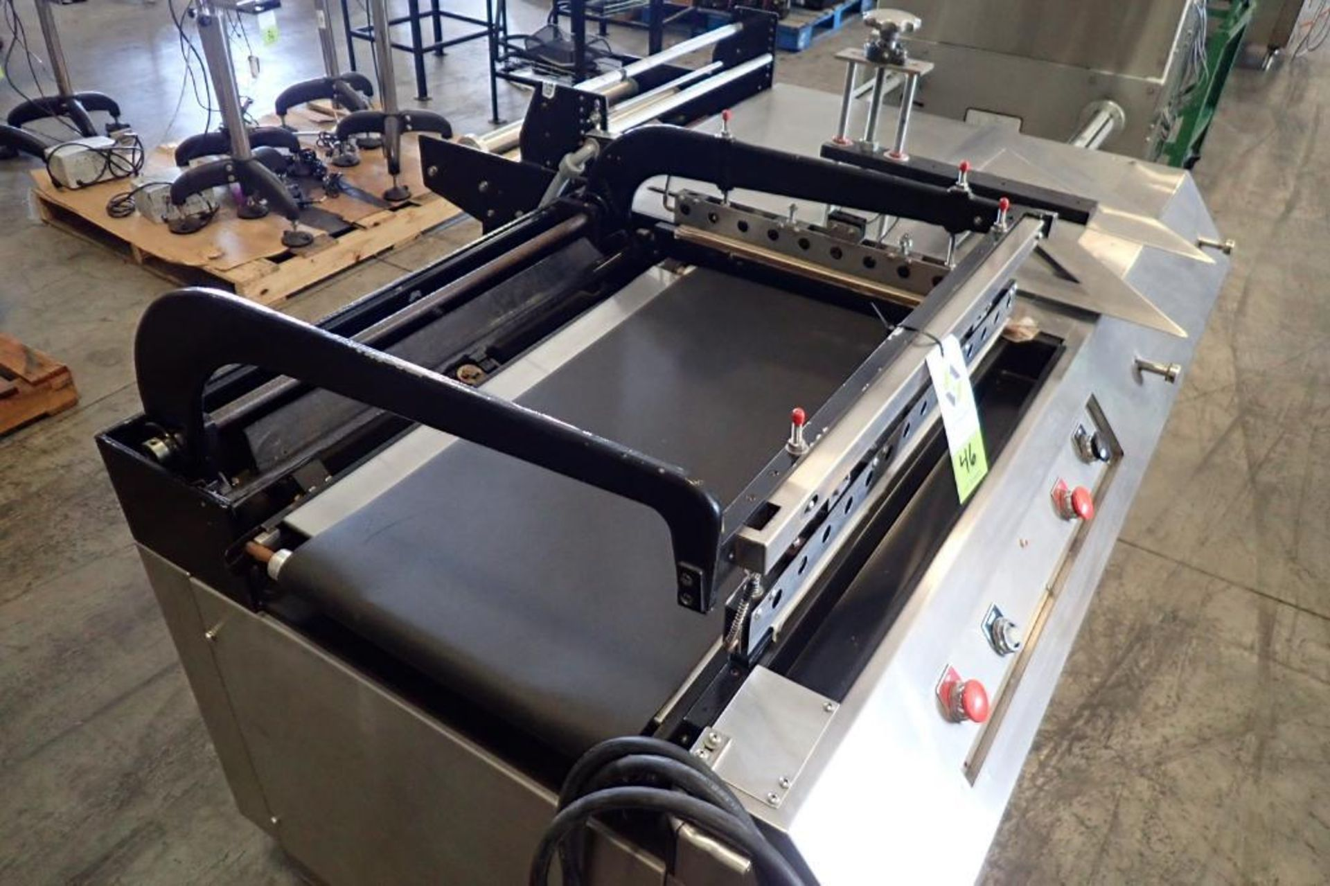 Lot 46 - L-bar sealer, 16 in. wide belt, 28 in. long x 20 in. wide seal, 24 in. wide film stand, variable