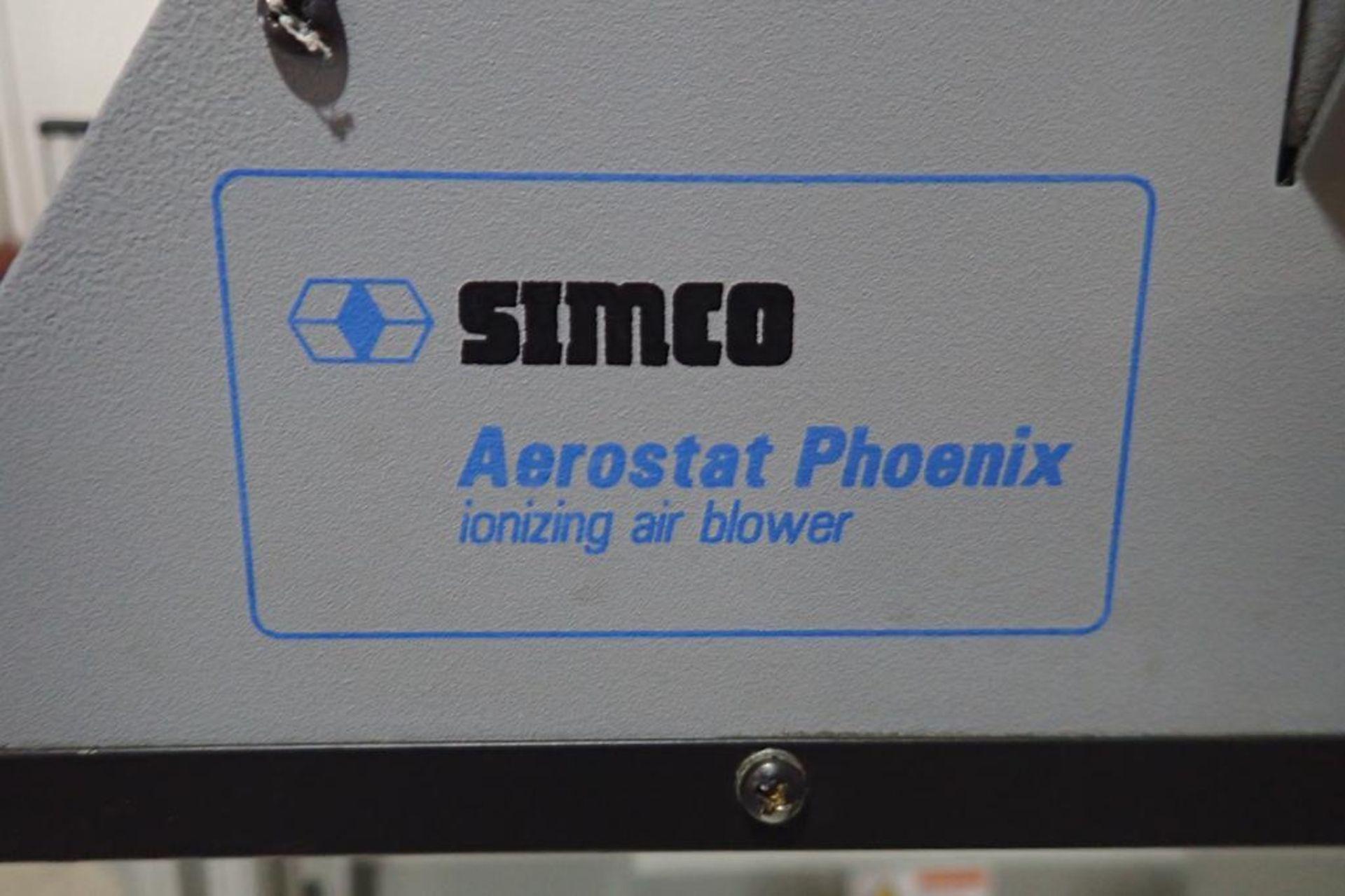 Lot 31 - Stork Texwrap transfer conveyor, Model STE-SA359, SN SA0217, with Simco ionizing air blower, white