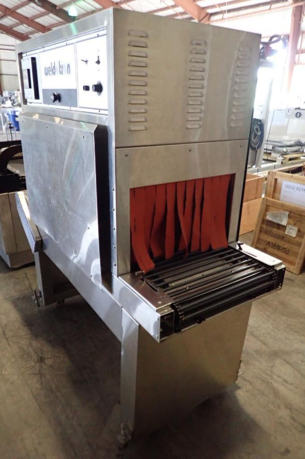 Lot 45 - Weldotron heat shrink tunnel, tunnel 46 in. long x 22 in. wide x 13 in. tall, rod belt conveyor 69