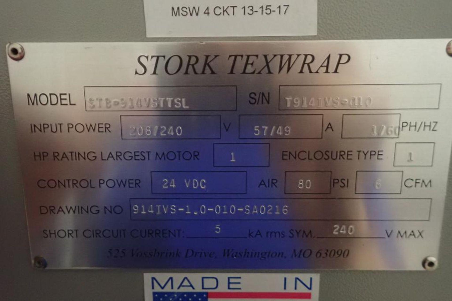 Lot 28 - Stork texwrap TTS-TVS over-wrapper, Model STB-914VSTTSL, T914IVS-010, 16 in. tall vertical seal
