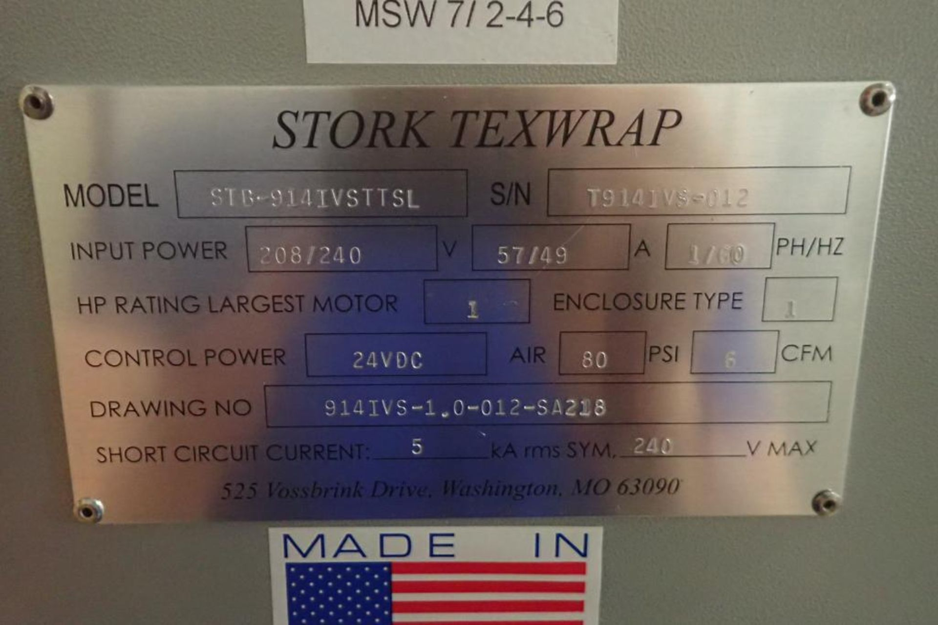 Lot 29 - Stork texwrap TTS-TVS over-wrapper, Model STB-914IVSTTSL, T914IVS-012, 16 in. tall vertical seal