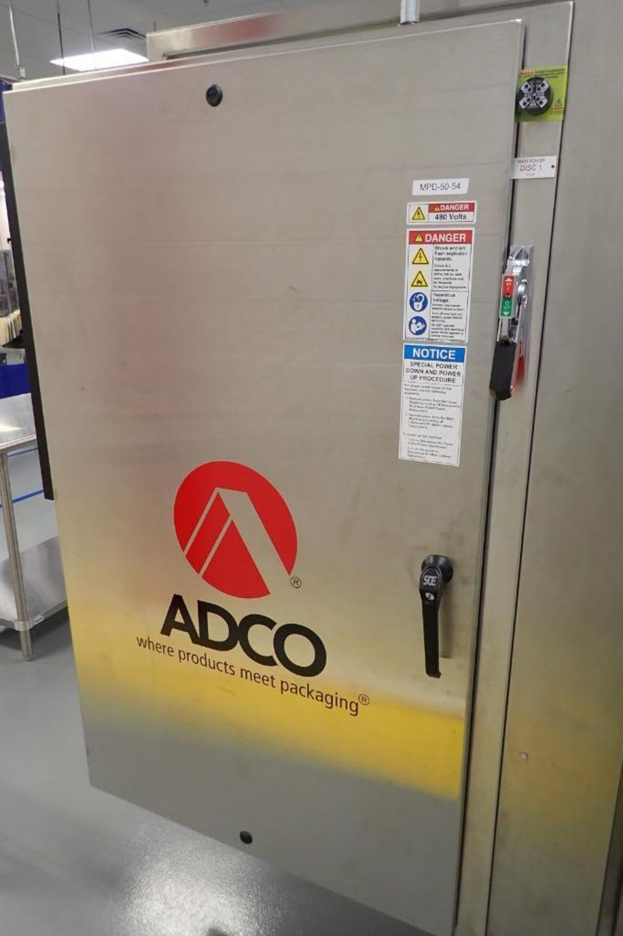 Lot 1 - 2015 Adco high speed wrap around sleever, Model 9WM110PW, SN 5624, 460 volt, 3 ph., 3.25 in. plastic