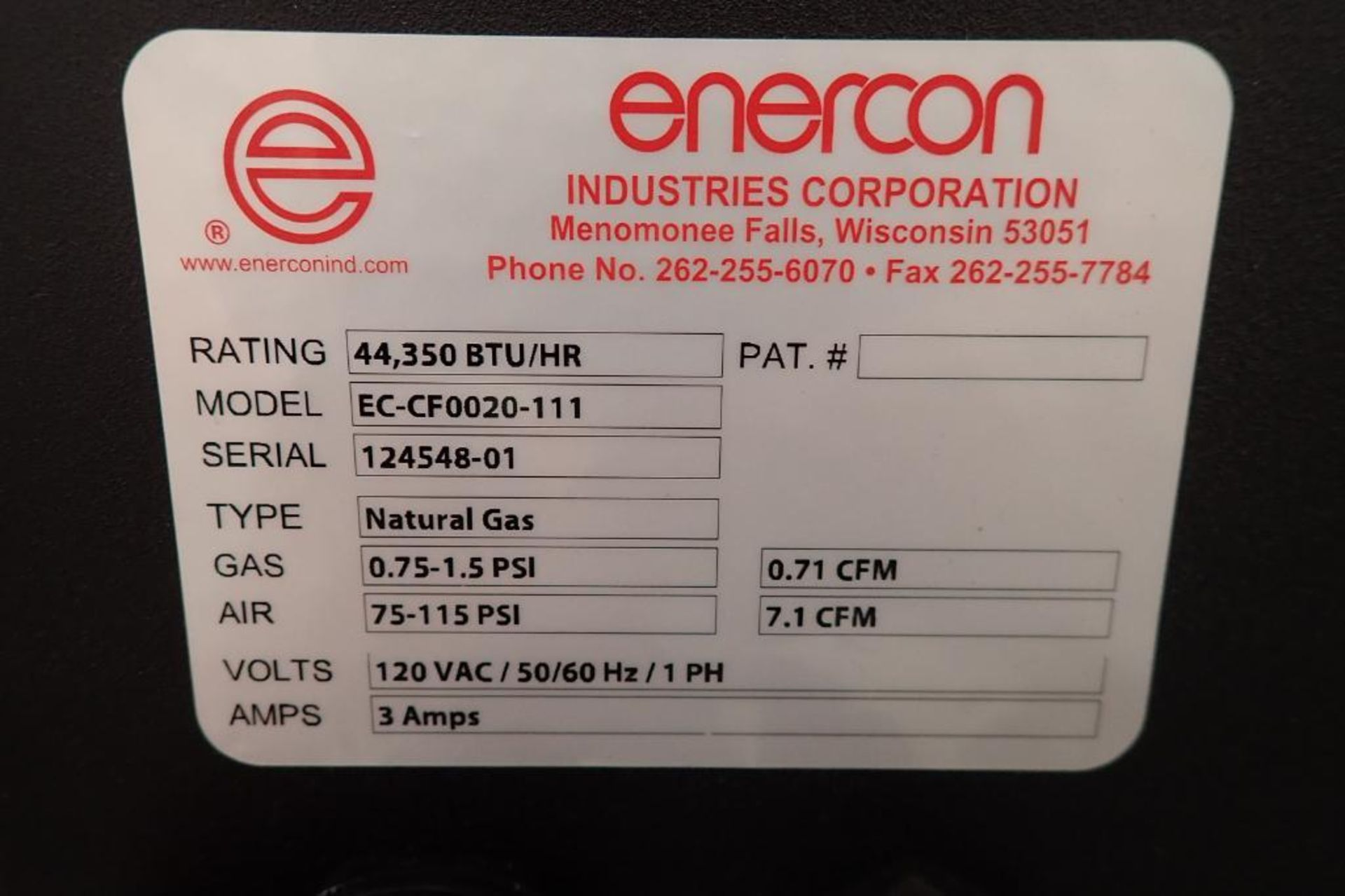 Lot 6 - Enercon Dyne-A-Flame plasma treater, Model EC-CF0020-111, SN 124548-01, natural gas 0.75-1.5 psi,