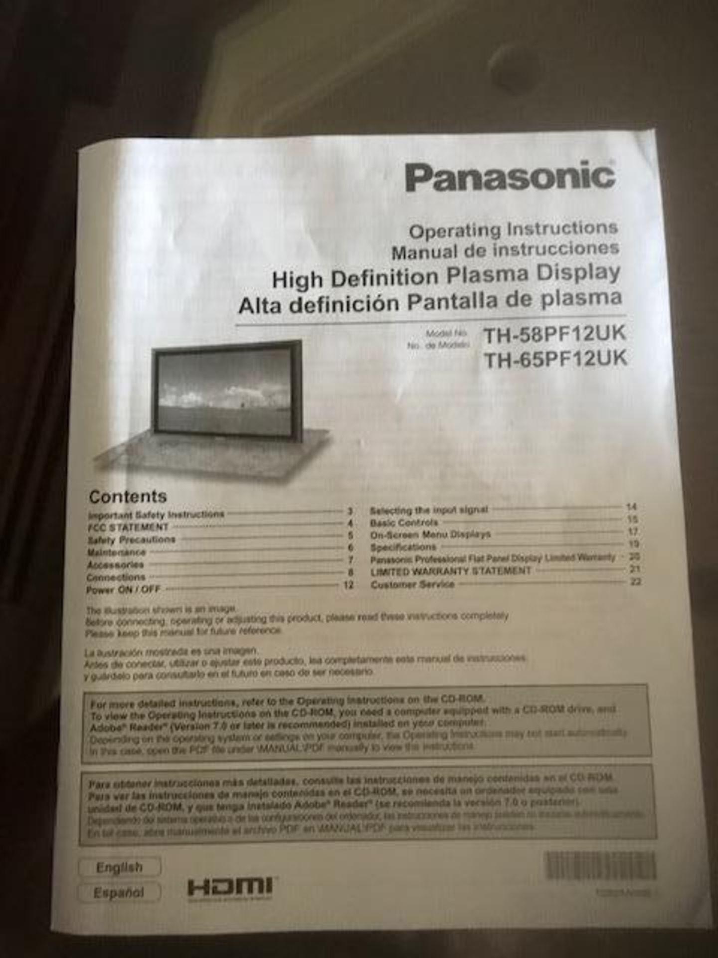 "Lot 301 - Panasonic Plasma Display 65"" Model TH-65PF12 w/remote with side mount speakers"