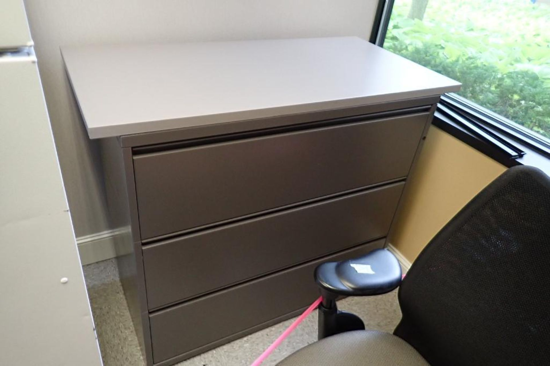 Lot 2039 - Wall track counter, 4 flip up doors, 3-drawer lateral filing cabinet