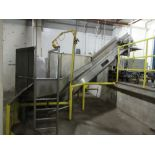 Vegetable stainless receiving hopper conveyor bunker type, approx 10 ft w x 24 in h x 4 ft deep