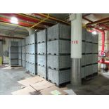(58) Galvanized bins, corrugated, perforated, stackable [1st Flr Vegetable Receiving Dept]