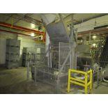 MTC Low lift tote dumper mod. no. LE ser. no. 1040199 4000 lb. cap, with 10hp powerpack, approx 60