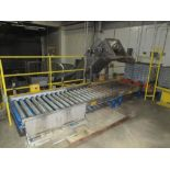 Tote feed conveyor system with (1) 4 ft w x 14 ft l, (1) 4 ft w x 10 ft l live roller conveyors,