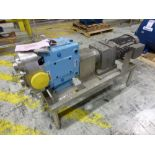 SPX 4 in stainless positive displacement pump, model 220 UI, ser. no 40387 with 15 hp motor, mounted