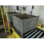 (2) Galvanized bins, corrugated, perforated, stackable [1st Flr Vegetable Receiving Dept]