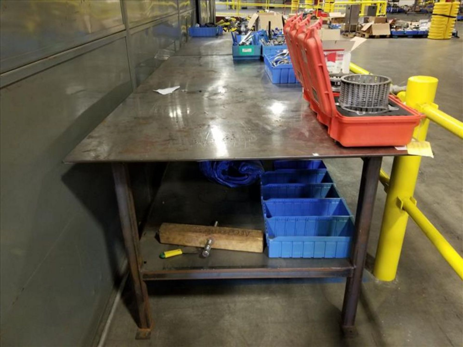 Lot 1532 - metal work table 8 ft. L x 48 in. W x 36 in. H