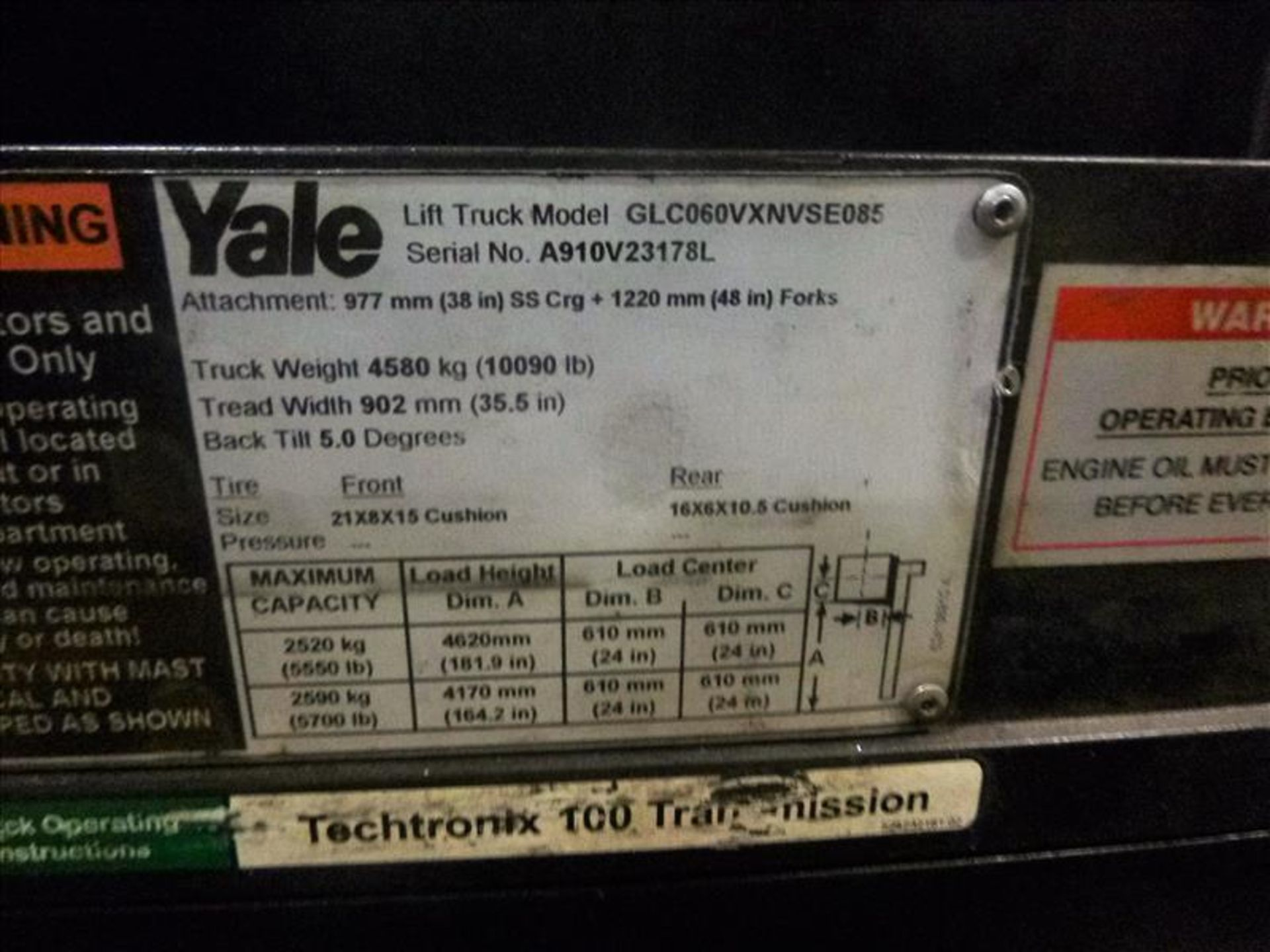 Yale fork lift truck, mod. GLC060VXNSEE085, ser. no. A910V23178L, LPG, 5500 lbs cap., 181 in. lift - Image 4 of 4