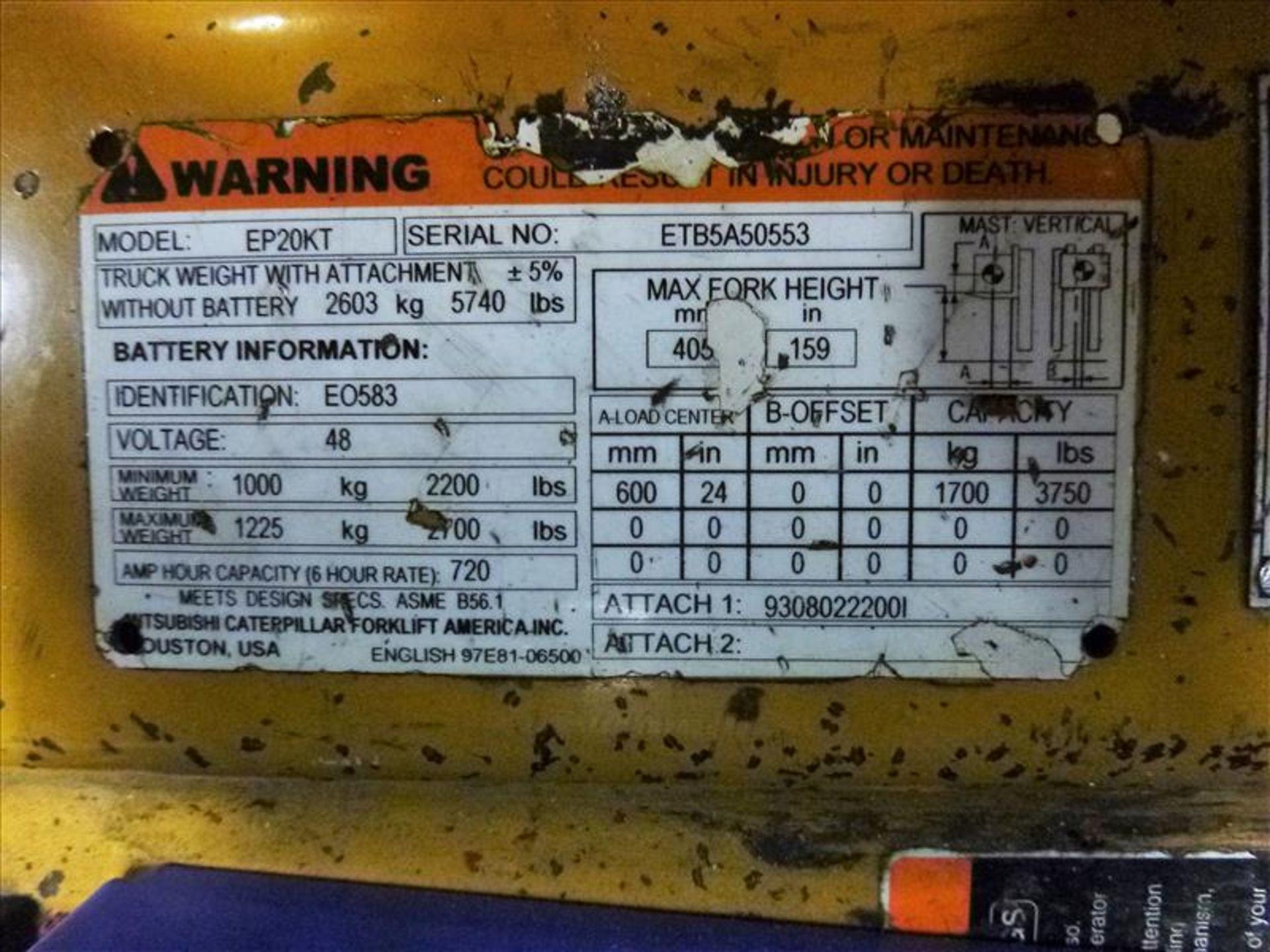Caterpillar fork lift truck, mod. EC20KT, ser. no. ETB5A50553, 48V electric, 3750 lbs cap., 159 - Image 4 of 4