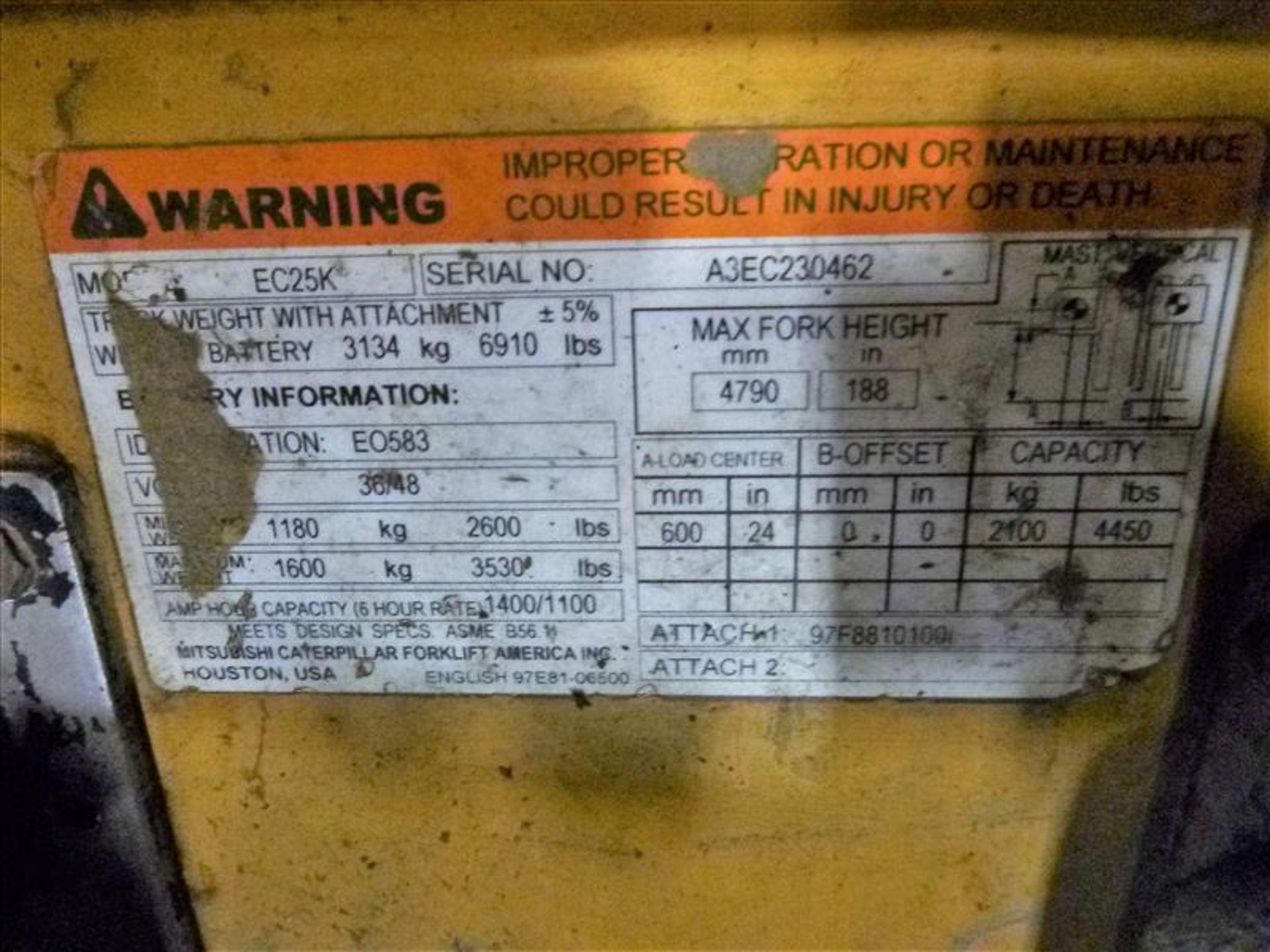 Lot 2009 - Caterpillar fork lift truck, mod. EC25K, ser. no. A3EC230462, 48V electric, 4450 lbs cap., 188 in.