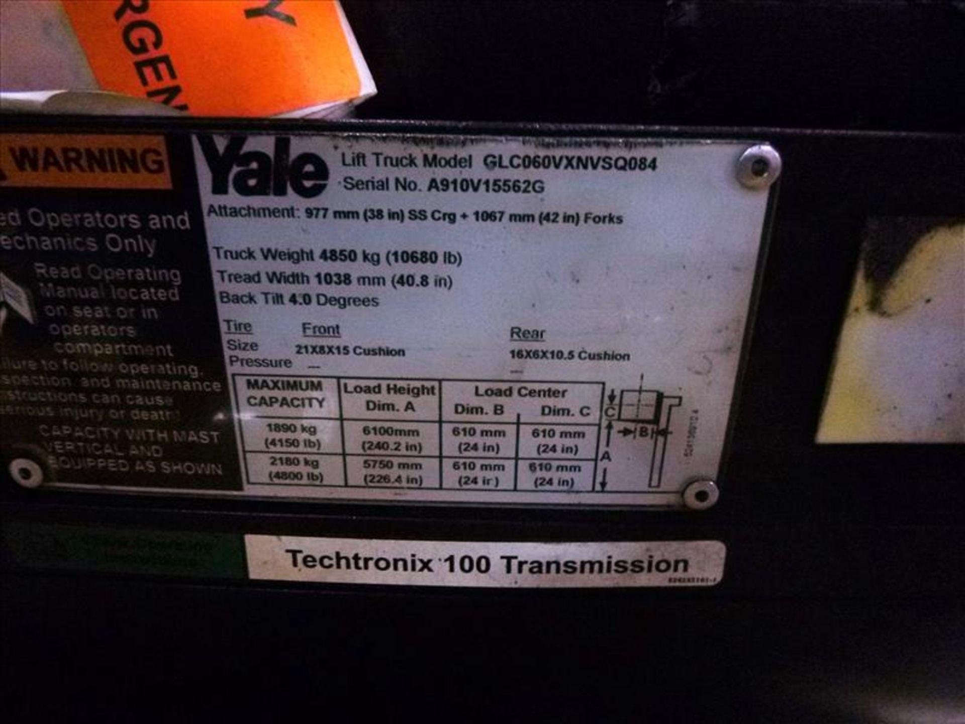Yale fork lift truck, mod. GLC060VXNVSQ084, ser. no. A91V15562G, LPG, 4000 lbs cap., 240 in. lift - Image 4 of 4