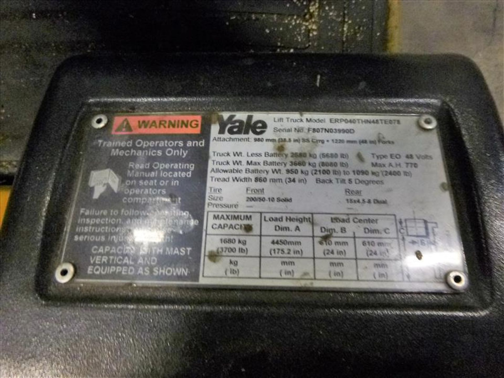 Yale fork lift truck, mod. ERP040VTHN48TE078, ser. no. F807N03990D, 48V electric, 3700 lbs cap., 175 - Image 4 of 4