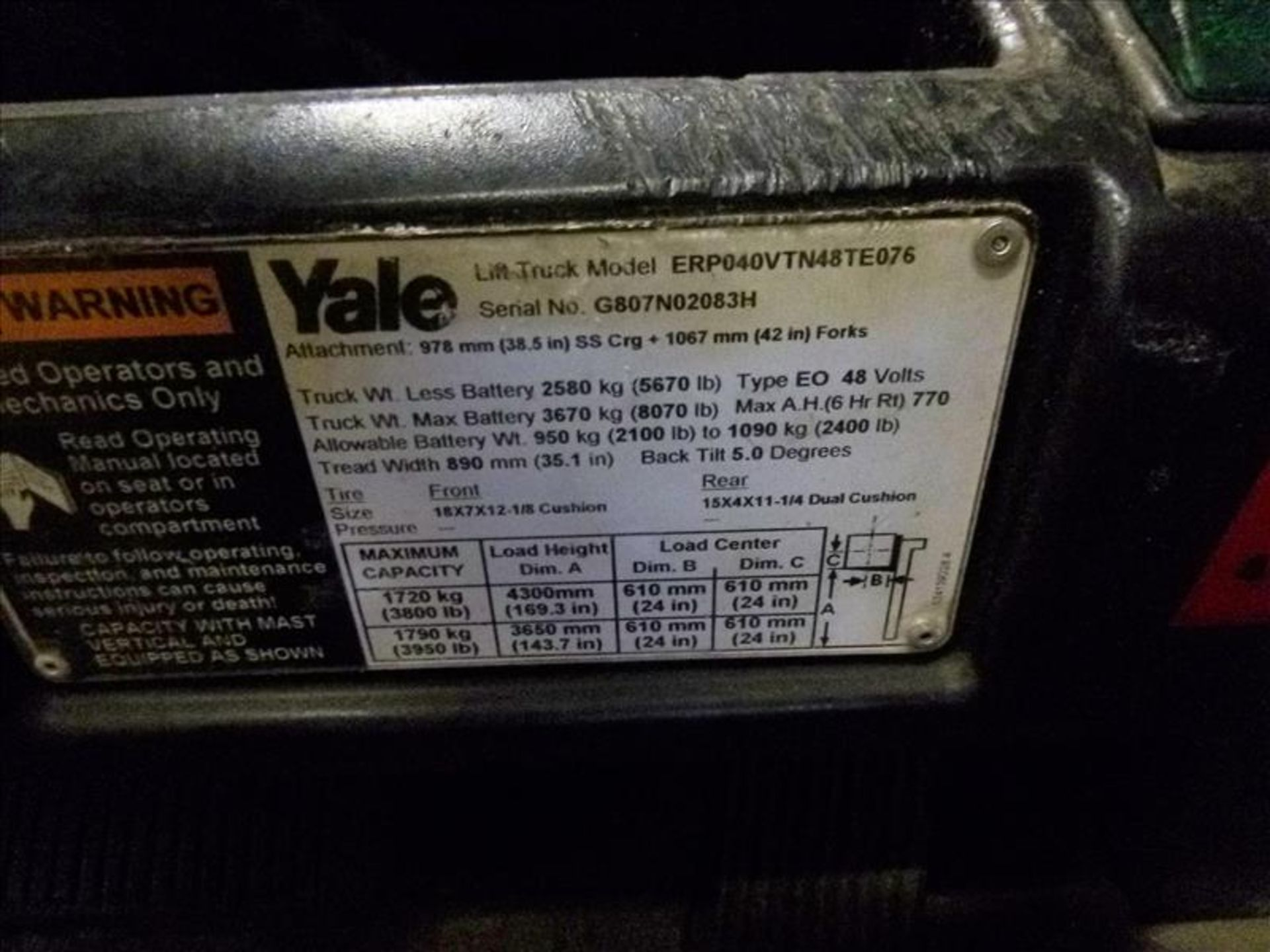 Yale fork lift truck, mod. ERP040VTN48TE076, ser. no. ???, 48V electric, 3800 lbs cap., 169 in. lift - Image 4 of 4