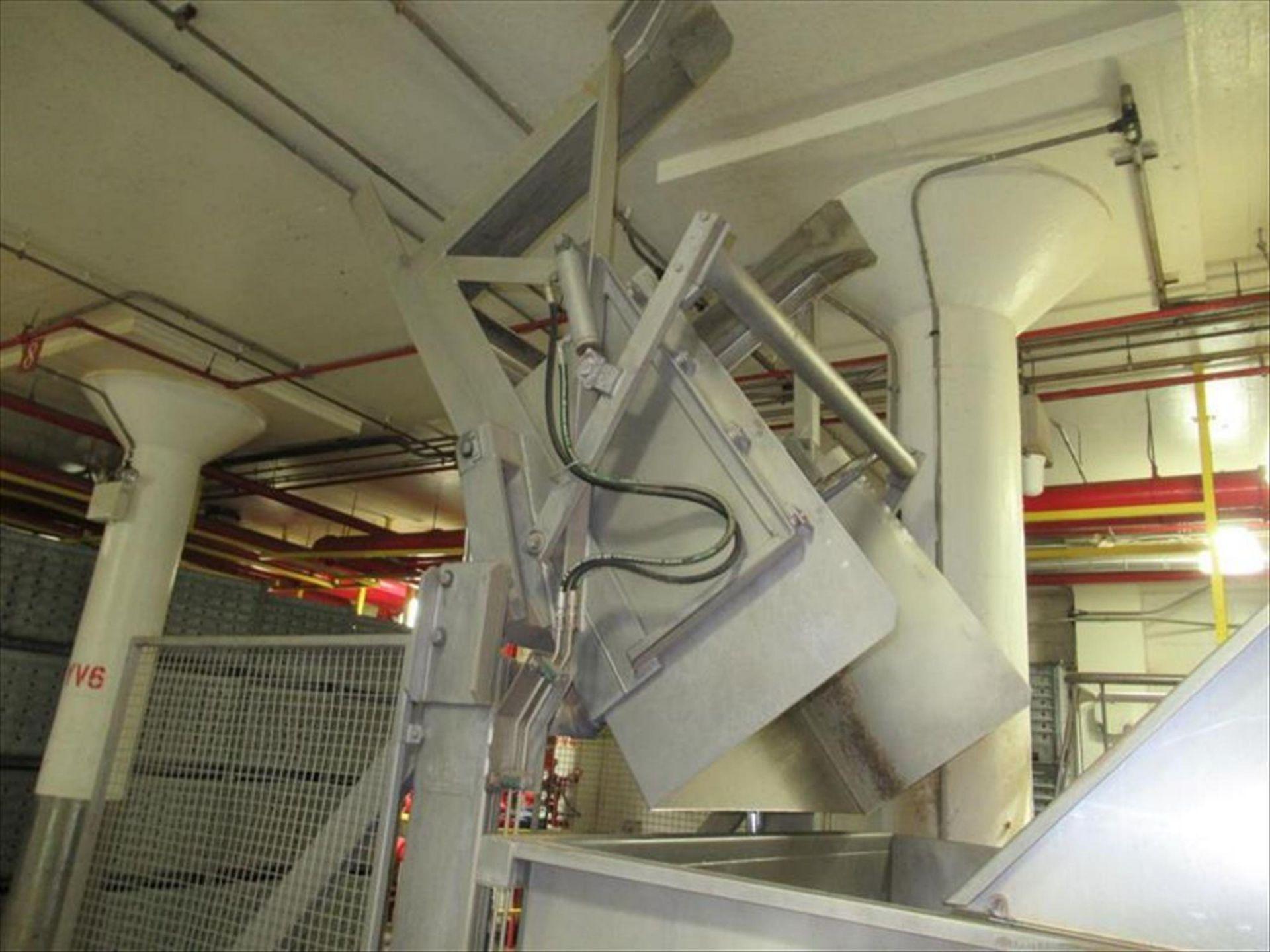 Lot 157 - MTC Low lift tote dumper mod. no. LE ser. no. 1040199 4000 lb. cap, with 10hp powerpack, approx 60