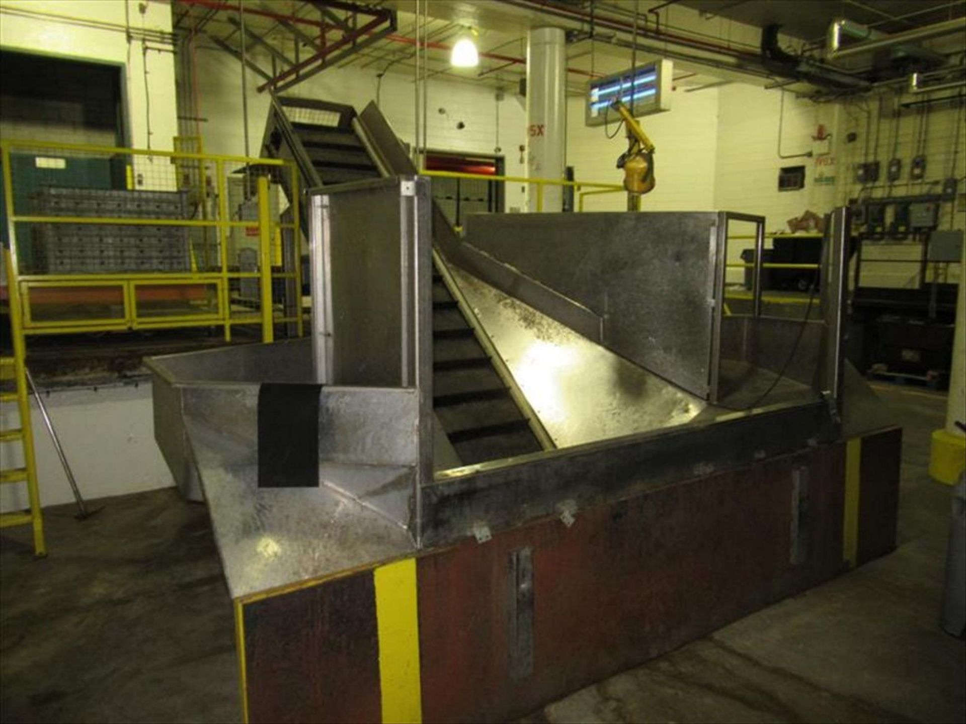 Lot 150 - Vegetable stainless receiving hopper conveyor bunker type, approx 10 ft w x 24 in h x 4 ft deep