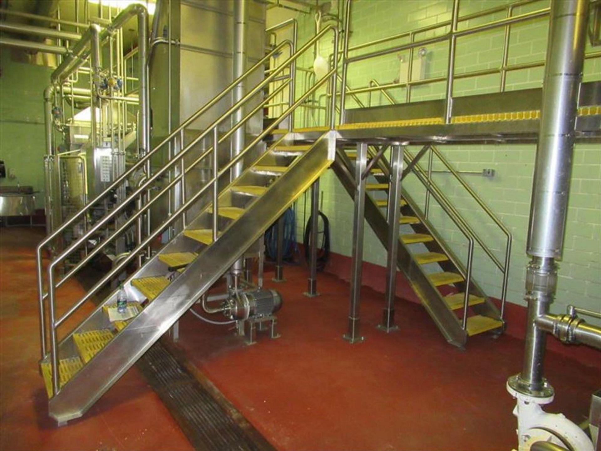 Lot 223 - Blancher inspection platform with (2) 10 steps stairways, Hd stainless framing and safety rails,