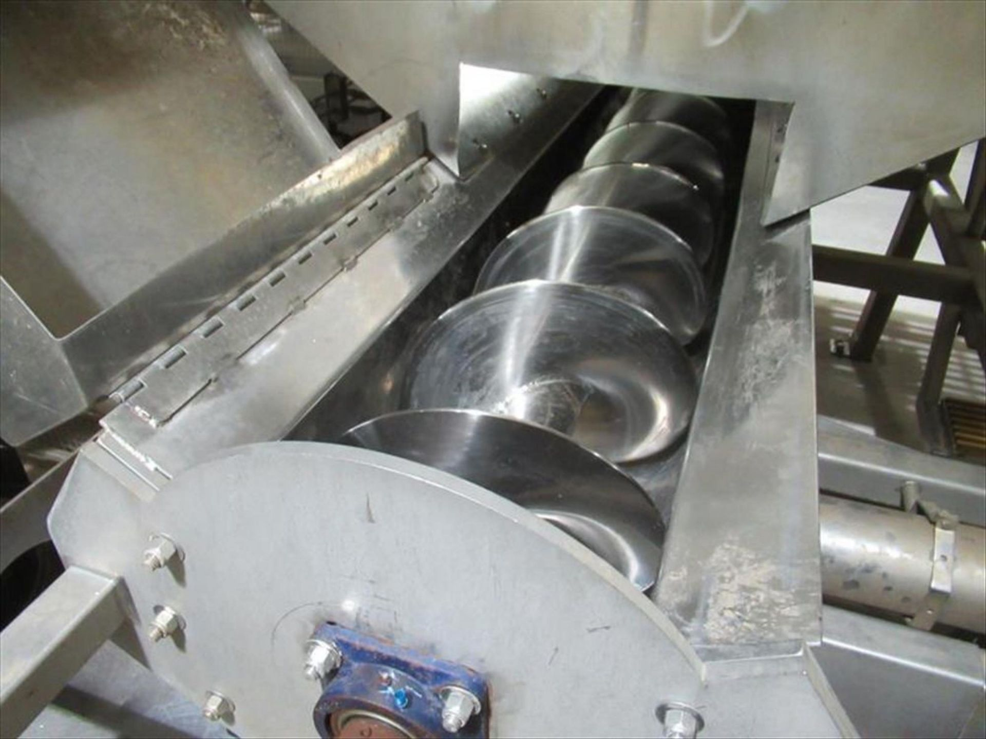Lot 158 - Stainless receiving hopper with side buffer, approx 14 in dia x 9 ft l ss screw auger bottom