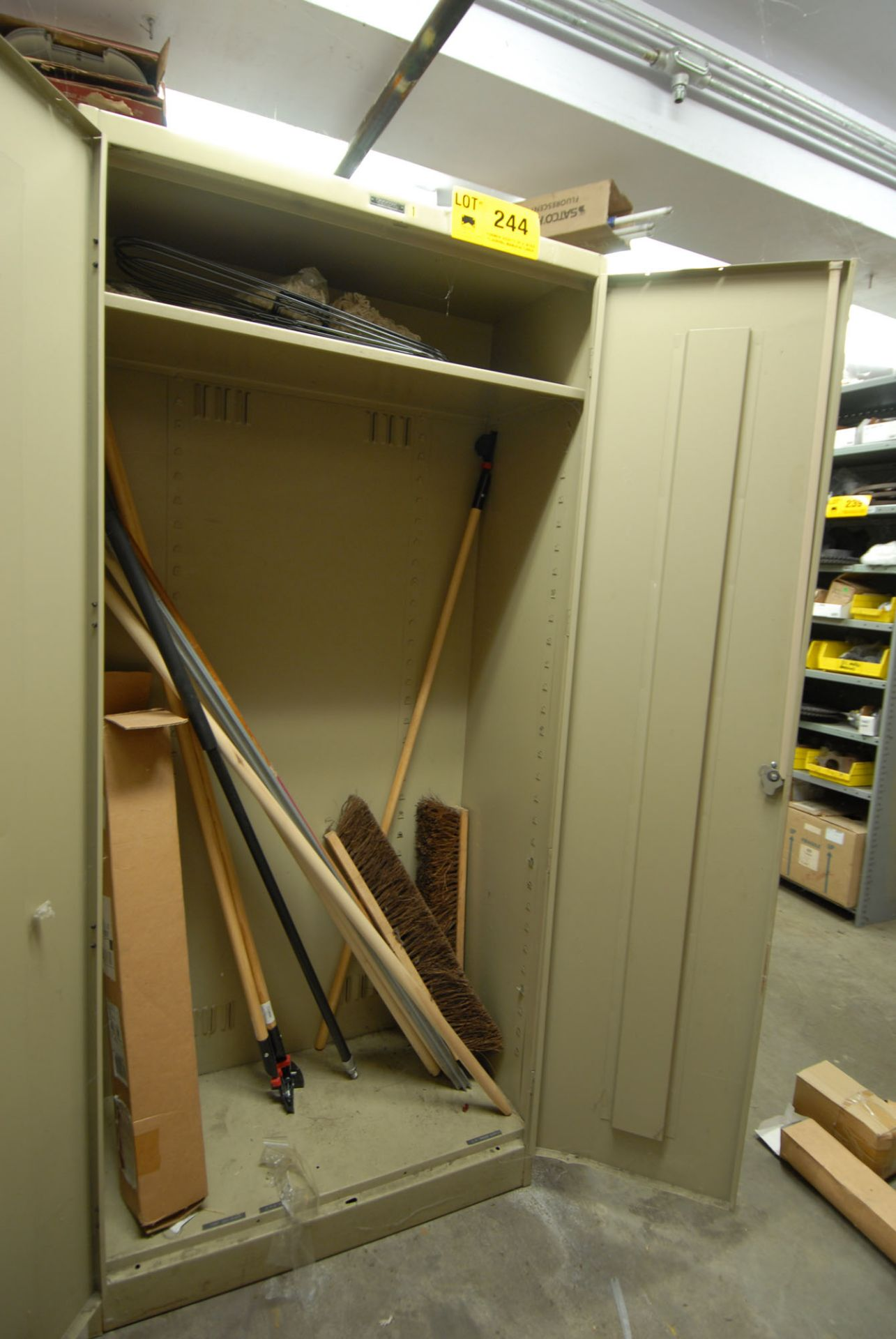 Lot 244 - LOT/ CABINET WITH CONTENTS (BROOMS)
