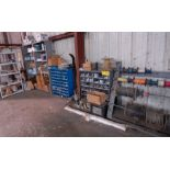Lot 213 - LOT/ LIGHT GAUGE WIRE, PARTS CABINETS WITH HARDWARE AND SHELF WITH CONTENTS-