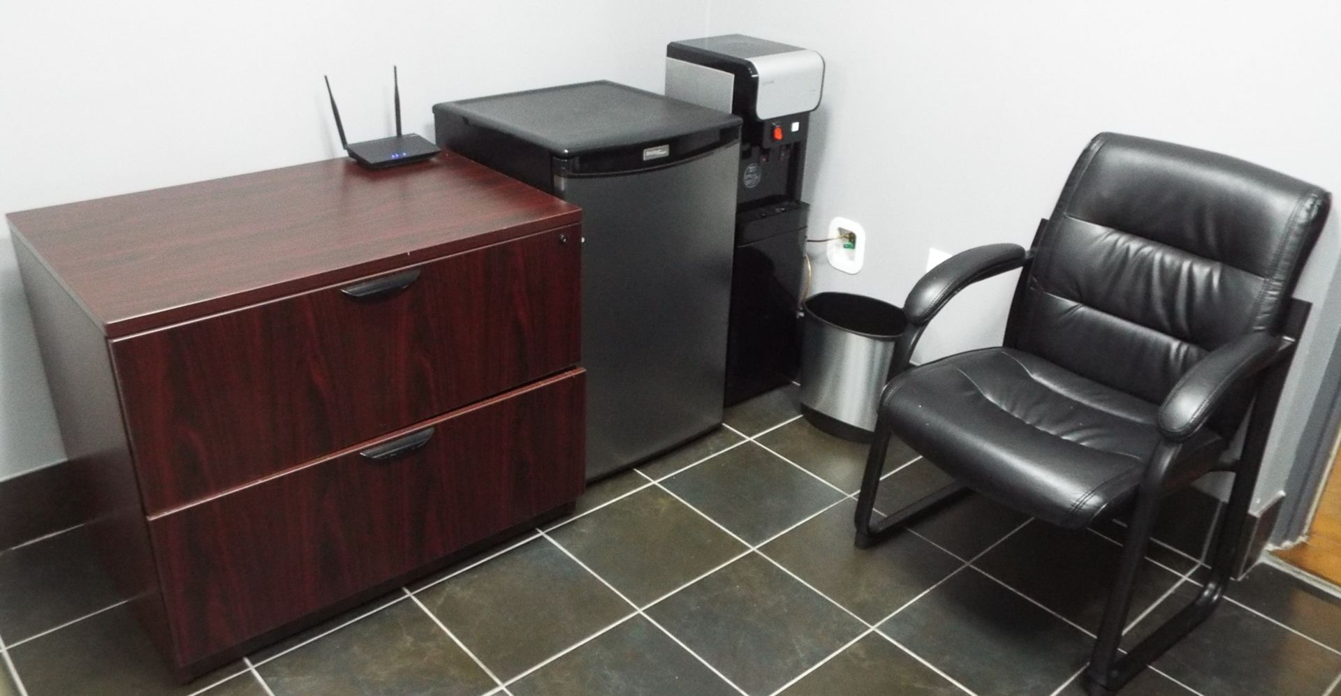 Lot 272 - LOT/ CONFERENCE TABLE WITH (7) OFFICE CHAIRS, 2 DRAWER LATERAL FILE CABINET, BAR FRIDGE, WATER